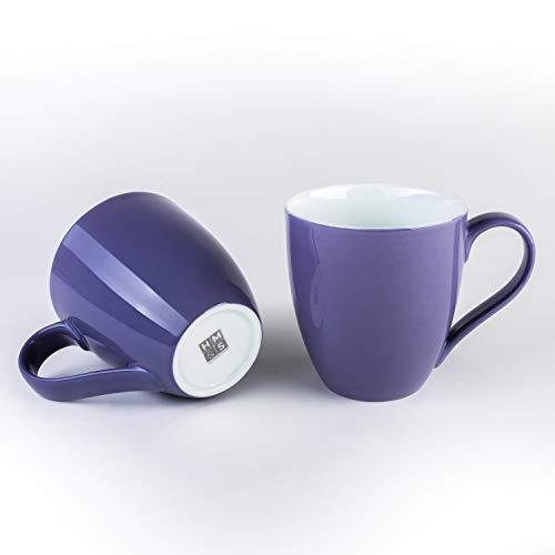 Hausmann & Söhne XXL Tasse Pastell lila groß aus Porzellan | Jumbotasse 500 ml (550 ml randvoll) im 2er Set | Kaffeetasse/Teetasse groß | Kaffeebecher | lila Tasse 500 ml | Geschenkidee