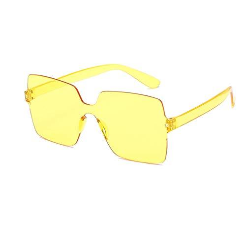 WXZQ Gafas de Sol Ocean Piece Gafas de Sol cuadradas Siameses Gradiente Gafas de Sol sin Montura Prácticas Gafas Salvajes Amarillo