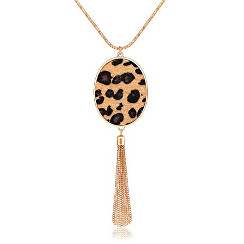 Long Necklaces for Women Statement Leopard Snakeskin Fur Pattern Necklace Oval Leather...