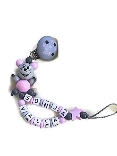 Baby Schnullerkette mit Namen Mädchen *Maus/Doppelname*Sternchenclip*