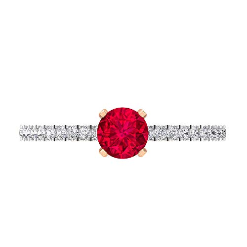 Anillo de compromiso de diamante HI-SI de 5 mm, anillo de compromiso de oro para mujer, oro de 14 quilates, Metal, Diamond Ruby,