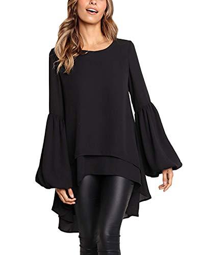 Style Dome Bluse Damen Elegante Rollkragen Langarmshirt Oberteile Chiffon Oversize Casual Tunika Tops Schwarz-A96296 XL