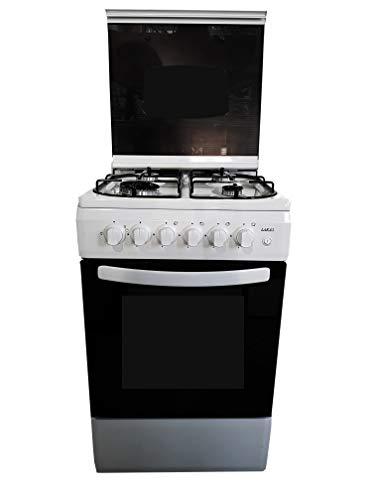LAREL Cucina con forno a gas 4 fuochi 50x50 bianca vetro grill elettrico valvolata