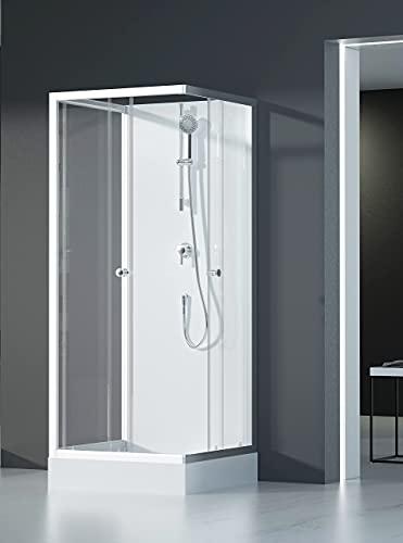 MARWELL Komplettdusche Fertigdusche White Dream 80 x 80 x 200 cm – Eckdusche mit Eckeinstieg - Duschkabine mit hochwertigen Aluminiumprofilen - Einstiegshöhe 15 cm