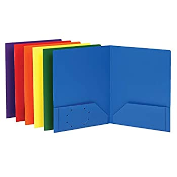 Oxford Folders with Pockets Durable Plastic Two Pocket Folders Assorted Colors 6 per Pack  15187