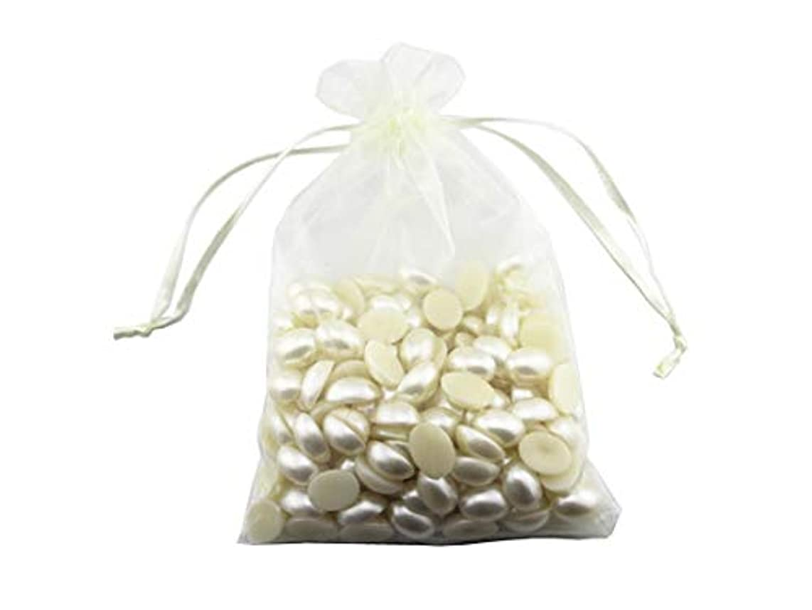7.8 x 11.8 Inch Ivory Color Pale Yellow Color Bags 100 Pack Ivory/Pale Yellow Drawstring Bags Gold Silver Fabric Jewelry Gift Pouch Candy Pouch Wedding Favors (Ivory/Pale Yellow)