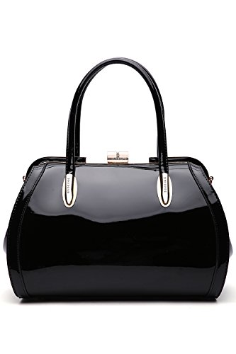 MKF Crossbody Satchel Shoulder Bags for Women - Patent PU Leather Handbag Purse - Marlene Lady Fashion Pocketbook Black