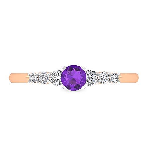 Anillo de compromiso de amatista de 4 mm, anillo de diamante HI-SI, anillo solitario con piedras laterales, anillo de oro para mujer, anillo de 7 piedras de oro de 14 quilates morado