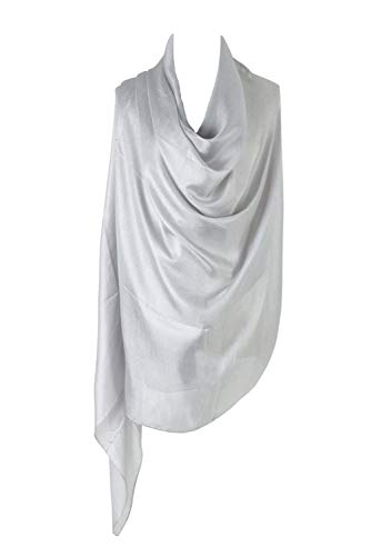 PB-SOAR Damen Einfarbiger Glänzend Schal Stola Halstuch für Abendkleider 185 x 100cm, 18 Farben auswählbar (Silbergrau)