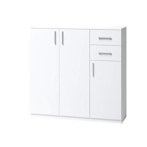 Comò Alicja 0 6. Una cassettiera per il soggiorno, l'ufficio, l'armadio e la stanza dei giovani. Colore bianco.