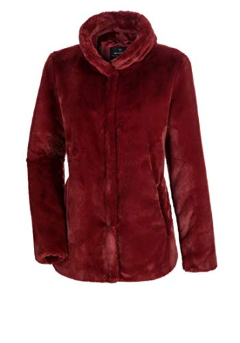 MILESTONE Eli Damen Jacke Kunstfelljacke mit Stehkragen Gelb Rot 100% Polyamid (38, Rot)