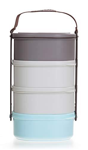 LOCK & LOCK Picknick Box Set groß mit Transport-Henkel & Hülle - 4er Lunchbox - Vesperdosen bpa-frei - 4 Design Picknickboxen stapelbar & tragbar