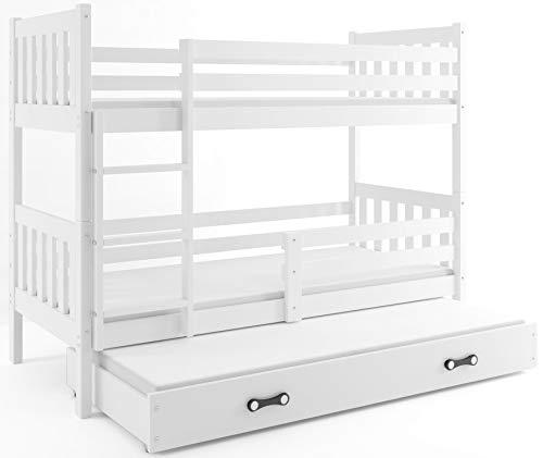 Interbeds Etagenbett Hochbett CARINO 3 (für DREI Kinder) 190x90cm Farbe: WEIß, aus Kiefernholz; mit Matratzen und Lattenroste (weiß + weiße Schublade)