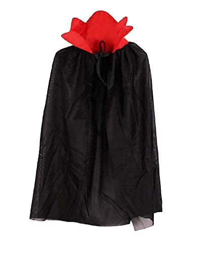 Capa para disfraz de vampiro - disfraz - carnaval - halloween - demonio - noble - drácula - color negro - unisex - niños - 5-7 años - idea de regalo para cumpleaños