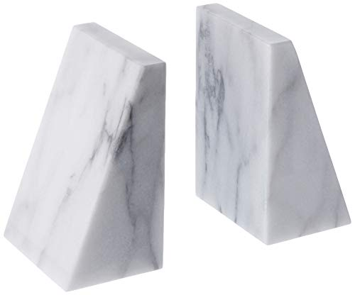 Fox Run Triangular 100% Natural Polished White Marble Bookends