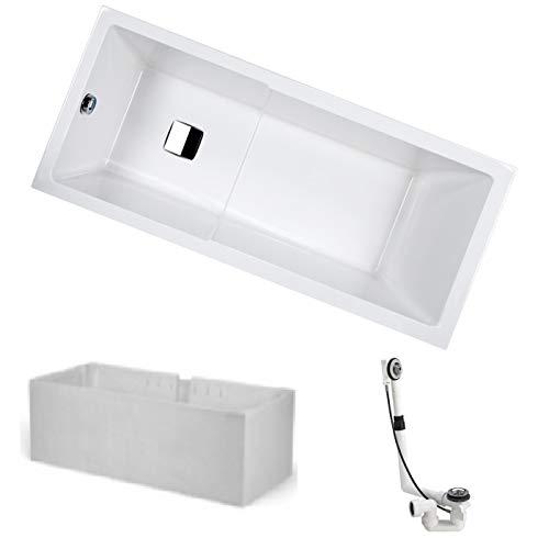 HOESCH Badewanne ARTE | Design Einbauwanne | mit Duschbereich | Acryl | 170x75cm | Komplettpaket mit Styroporträger und Ablaufgarnitur