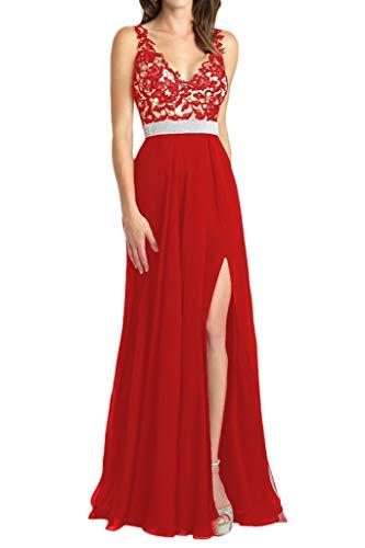 HUINI Damen Abendkleider Elegant Hochzeitskleider Brautjungfernkleider Lang Brautmutterkleider V-Ausschnitt Ballkleider Spitzen A-Linie Rot 42