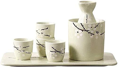 ZHEYANG Sake Set Juego de 7 Piezas de Sake, Juego de Tazas de Sake de cerámica de Estilo japonés, diseño Tradicional Pintado a Mano, Taza de cerámica de Porcelana, artesanía, Copa de Vino Sake Se