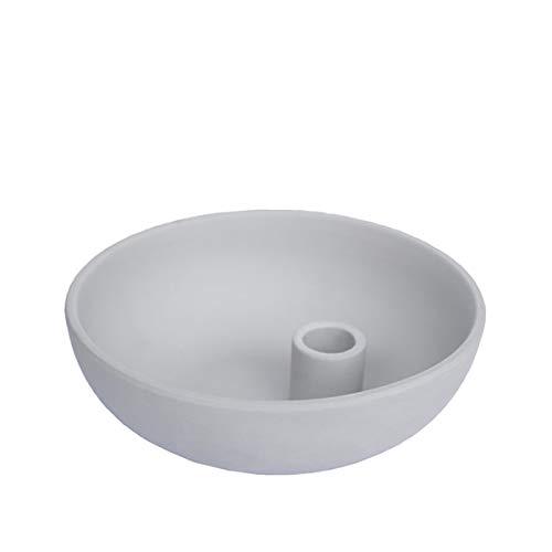 Storefactory - Lindatorp - Kerzenständer, Kerzenschale - Keramik - Grau - Maße (ØxH): 15 x 5 cm