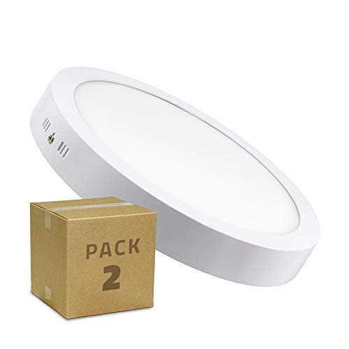 LEDKIA LIGHTING Pack Plafón LED Circular 24W (2 un) Blanco Frío 6000K - 6500K