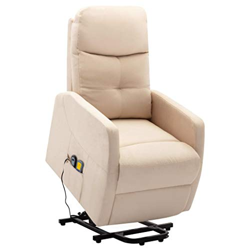 vidaXL Massagesessel mit Aufstehhilfe Heizung Elektrisch TV Sessel Fernsehsessel Relaxsessel Ruhesessel Polstersessel Liegesessel Creme Stoff
