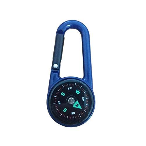 leanBonnie DC27T Porte-clés Multifonctionnel randonnée Portable en Alliage de Zinc Mousqueton Mini Boussole pièces de Sports de Plein air Porte-clés (Bleu)