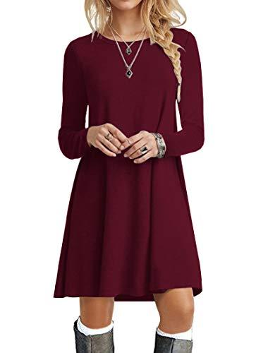 POPYOUNG Women's Long Sleeve T Shirt Dresses Casual Swing Dress L, Wine Red