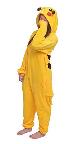 D'BOON Adults Kids Onesie Animal Pikachu Pajamas one piece Sleepwear Costume(Height(4'-4'4'))