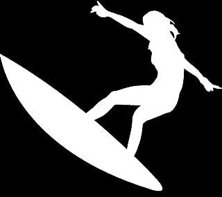 CMI NI708 Surfer Girl Decal | 5.5-Inches Wide | Premium Quality White Vinyl