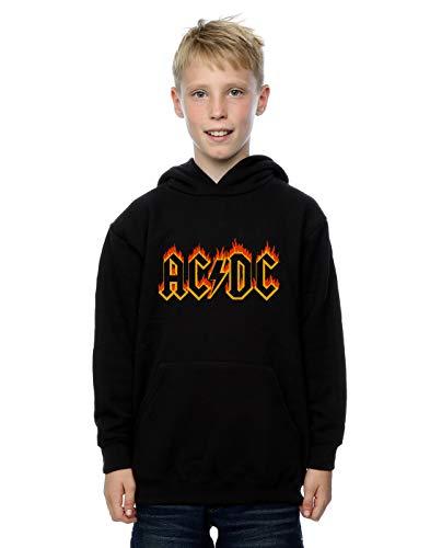 AC/DC Niños Flames Logo Capucha Negro 12-13 Years
