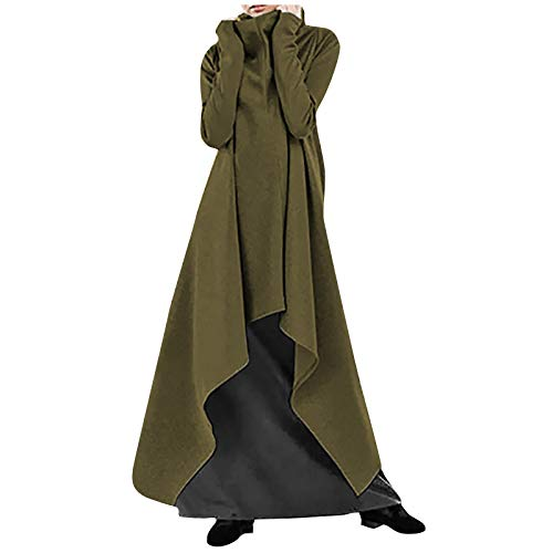 Chaqueta de Cuello de Tortuga de Las Mujeres Sudadera Pullover Vestido Suelto Irregular hem Largo lenngth Moda slido Color Robe Vestido