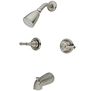 Kingston Brass GKB248 Magellan Tub and Shower Faucet with Two Handles, Brushed Nickel