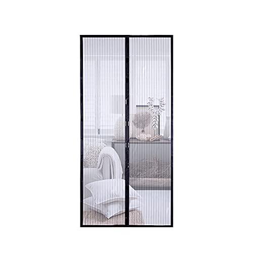 Mosquitera para puerta magnética, anti-insectos, puerta de balcón, 100 x 210 cm, para puerta de balcón, terraza, sótano, puerta corredera y salón, fácil de instalar, no porosa, negro.