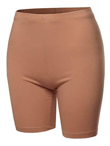 A2Y Basic Solid Cotton Mid Thigh High Rise Biker Bermuda Shorts Egg Shell XL