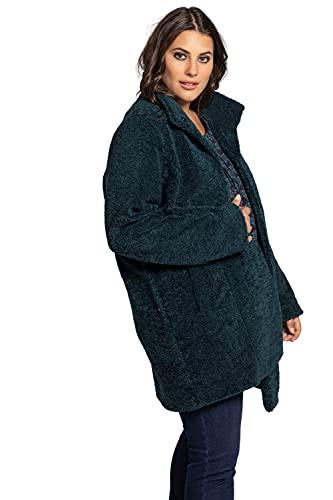 Ulla Popken Mantel Teddyoptik Abrigo con Aspecto de Peluche, Turquesa (Tabgrün 75051677), 50 para Mujer