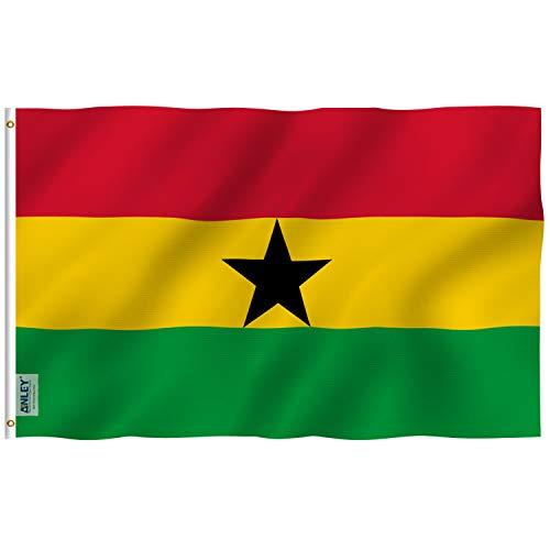 ANLEY Fly Breeze 3x5 voet (90x150 cm) Ghana vlag - levendige kleuren en UV-lichtbestendig - canvas koptekst en dubbel gestikt - Ghanese nationale vlaggen polyester met messing oogjes 3 x 5 voet