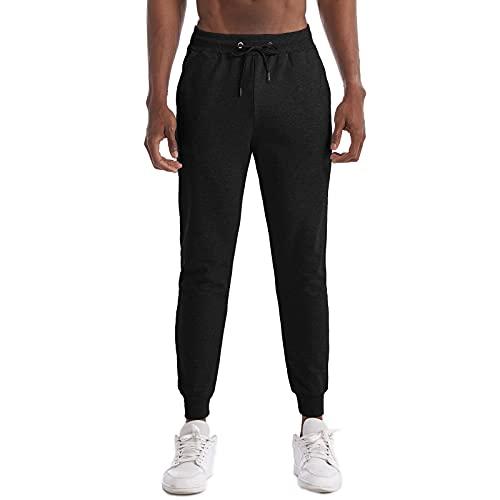 Pantalones Deportivos de Ajustados Casuales de Moda para Hombre Pantalones de Chándal de Color Liso para Hombre (Negro, 2XL)