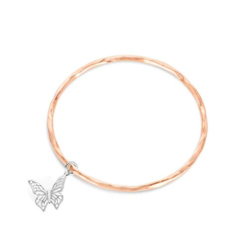 Lily Blance Woman Bracelet 18ct Gold and Rose Gold Bangle with Silver Butterfly Charm Designed in Britain (Rose Gold, 18ct Rose Gold Vermeil)