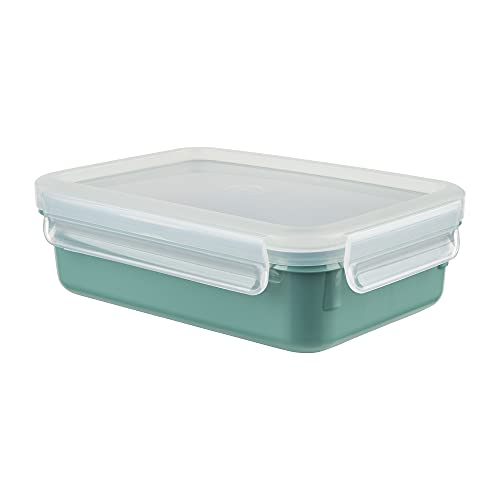 Emsa N10127 Clip & Close Color Edition Frischhaltedose | 0,8 Liter | 100% auslaufsicher/hygienisch | BPA-frei | spülmaschinen-, mikrowellen- und gefriergeeignet | made in Germany | Puder Grün