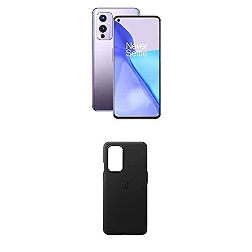 OnePlus 9 5G Smartphone Senza SIM con Fotocamera Hasselblad, 12 GB RAM + 256 GB, Viola (Winter Mist) + Sandstone Bumper Custodia, Nero [Esclusiva Amazon]
