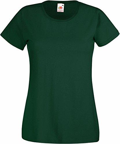 Fruit of the Loom - T-shirt - Manches Courtes - Femme Vert - vert bouteille Medium