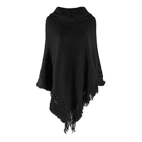 Tacobear Poncho Mujer Elegante Capa de Punto con Capucha Bufanda de Punto cálido Pullover Suéter Poncho Otoño Invierno Capa para Mujer (Negro)