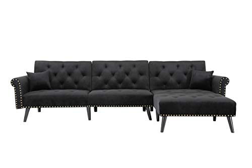 Veryke Modern Velvet Sofa L-Shaped Couch Chair Convertible Sleeper Sofa Couch 115 Inch 3 Seat Sectional Sofa with Reversible Chaise for Living Room Small Places,Black