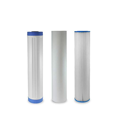 (3 Pack) 20' x 4.5' Big Blue Whole House Pleated Sediment, GAC Carbon and Polypropylene Sediment Replacement Water Filters Works with 20' Big Blue Whole House Water Systems