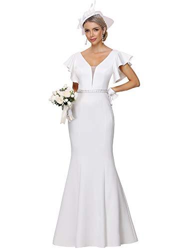Ever-Pretty Womens Elegant Floor Length Simple Bridal Dress for Women White US6