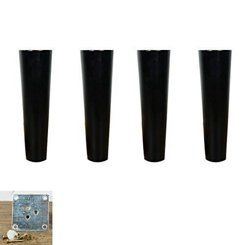DX 4-delige set houten poten, meubelpoten, tafelpoten, kegelpoten van eikenhout, voor bureau, tv-kast, eettafel, bed met montageplaat en