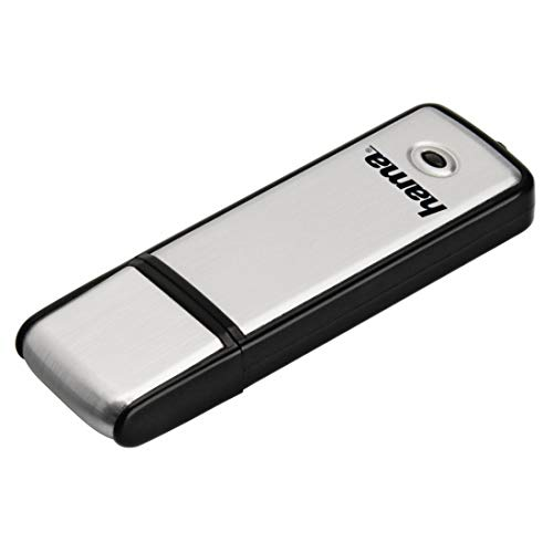 Hama Fancy - Lápiz de Memoria Flash (128 GB, USB 2.0), Color Negro y Plateado