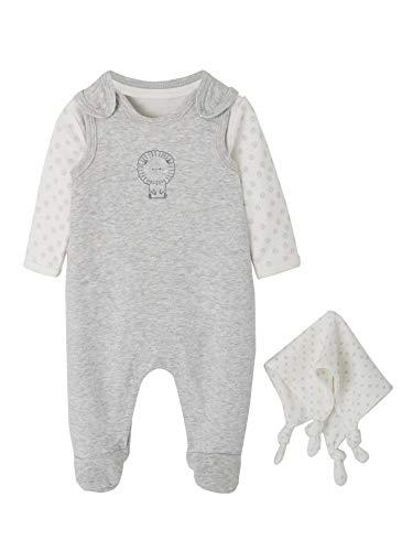 VERTBAUDET Conjunto para recién nacido + body + doudou de algodón orgánico Gris claro jaspeado PREMATURO - 45CM