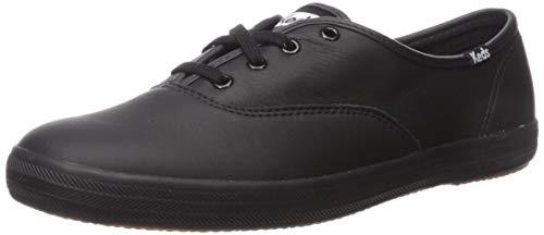 Keds Women's Champion Leather Sneaker, Black/Black, 8.5