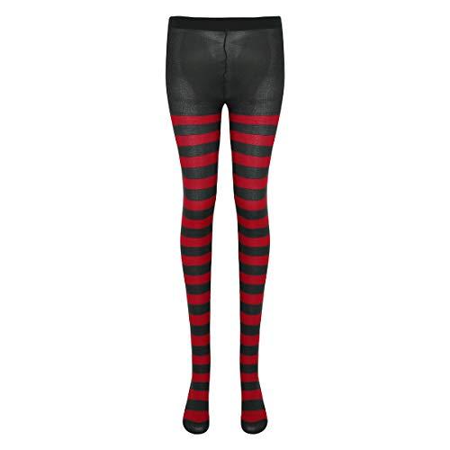 iEFiEL Unisex Zweifarbige Strumpfhosen Fitness Leggings Hose Kompressionshose Lang Tight für Damen Herren Kostüm Fasching Karneval Zubehör Streifen Schwarz & Rot One Size